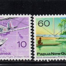 Sellos: PAPUA 311/12** - AÑO 1976 - AVIONES - 50º ANIVERSARIO DEL PRIMER VUELO DE VIGILANCIA. Lote 175427130