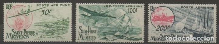 SELLOS SAINT PIERRE ET MIQUELON 1947 Y&T 18/20* AEREOS AVIONES (Sellos - Temáticas - Aviones)