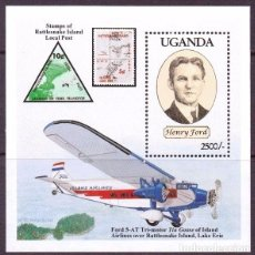 Sellos: SELLO UGANDA 1994 HENRY FORD AVION FORD 5-AT TRIMOTOR. Lote 176159378