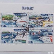 Sellos: MALDIVAS HIDROAVIONES HOJA BLOQUE DE SELLOS USADOS. Lote 176375314