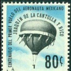 Sellos: SELLO MEJICO 1962 Y&T 233** AEREO PRIMER VUELO DEL ARGONAUTA MEJICANO JOAQUIN DE LA CANTOLLA. Lote 176464284