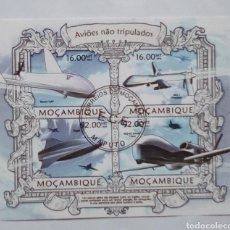 Sellos: MOZAMBIQUE AVIONES COMERCIALES HOJA BLOQUE DE SELLOS USADOS. Lote 176902785