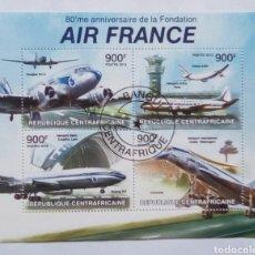 Sellos: AVIONES AIR FRANCE HOJA BLOQUE DE SELLOS USADOS DE REPÚBLICA CENTROAFRICANA. Lote 176902820
