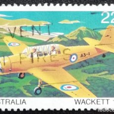 Sellos: 1980. AVIACIÓN. AUSTRALIA. 722. AVIÓN DE FABRICACIÓN AUSTRALIANA. WACKETT, DE 1941. USADO.. Lote 178588280