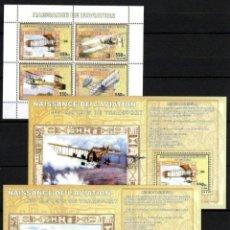 Sellos: PIONEROS DE LA AVIACIÓN 3 HOJAS BLOQUE DE SELLOS NUEVOS DE REPÚBLICA DEL CONGO. Lote 179008216