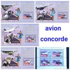 Sellos: AVION CONCORDE SERIE COMPLETA DE 5 HOJAS BLOQUE DE SELLOS NUEVOS DE REPÚBLICA DEL CONGO. Lote 179007075
