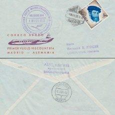Sellos: AÑO 1959, PRIMER VUELO DEL VISCOUNT 814 MADRID-FRANKFURT EL 4-3-1959 CON LLEGADA, SOBRE DE ALFIL. Lote 179170841