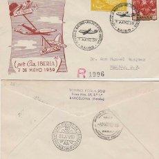 Sellos: AÑO 1959, PRIMER VUELO IBERIA MADRID-MEJICO EL 7-5-1959 CON LLEGADA AEROPUERTO MEJICO, PANFILATELIC. Lote 179170957