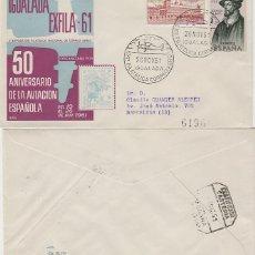 Sellos: AÑO 1961, 50 ANIVERSARIO DE LA AVIACION ESPAÑOLA, EXPO EN IGUALADA SOBRE DE ALFIL CIRCULADO. Lote 179171131