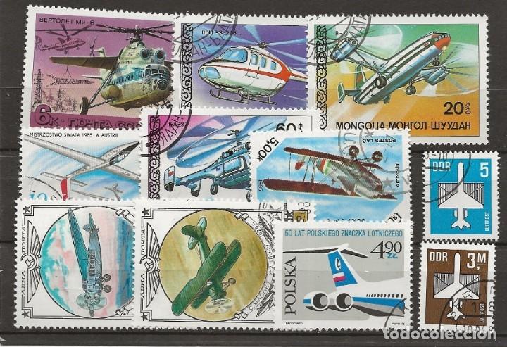 R8/ AVIONES, BONITO LOTE DE MATASELLADOS (Sellos - Temáticas - Aviones)