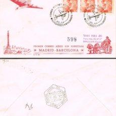 Sellos: AÑO 1954, PRIMER CORREO AEREO SIN SOBRETASA, MADRID-BARCELONA CON LLEGADA, SOBRE DE PANFILATELICAS. Lote 182991720