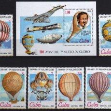 Sellos: GIROEXLIBRIS.-CUBA.- 1983 200 ANIVERSARIO DEL 1º VUELO EN GLOBO BALLOONS, SERIE COMPLETA Y HOJA BLO. Lote 183266625