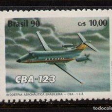 Sellos: BRASIL 1975** - AÑO 1990 - AVIONES - CBA-123 - HOMENAJE A LA INDUSTRIA AERONÁUTICA. Lote 187093657