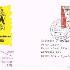 Sellos: ALEMANIA, PRIMER VUELO HAMBURGO-BONN-FRANKFURT-BARCELONA, MATASELLO DE 25-5-1959. Lote 187332672