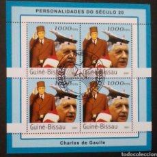 Sellos: AVION EL CONCORDE Y CHARLES DE GAULLE HOJA BLOQUE DE SELLOS USADOS DE GUINEA BISSAU. Lote 187422038