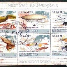 Sellos: PIONEROS DE LA AVIACIÓN HOJA BLOQUE DE SELLOS USADOS DE MOZAMBIQUE. Lote 187422637