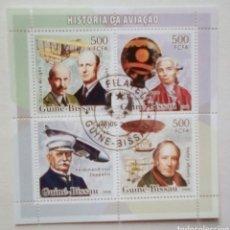 Sellos: PIONEROS DE LA AVIACIÓN HOJA BLOQUE DE SELLOS USADOS DE GUINEA BISSAU. Lote 187490481