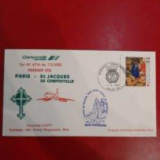 Sellos: PARIS ST JACQUES DE COMPOSTELA VUELO CONCORDE 1988 PREMIER VOL 7.05.1988 RODILLO CORUÑA. Lote 189171688