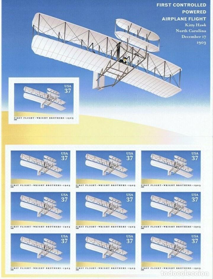 SELLOS ESTADOS UNIDOS 2003 HOJA DE 10 SELLOS PRIMER VUELO HERMANOS WRIGHT (Sellos - Temáticas - Aviones)