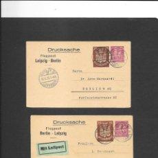 Sellos: ALEMANIA IMPERIO VUELOS EN 1923 (2) DE IDA Y DE VUELTA SON ENTEROS POSTALES. Lote 191881391