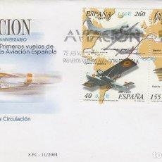 Sellos: EDIFIL 3790, 75 ANIVERSARIO DE LOS PRIMEROS VUELOS ESPAÑOLES, PRIMER DIA DE 26-4-2001. Lote 192359863