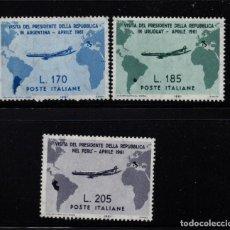 Sellos: ITALIA 845/47** - AÑO 1961 - AVIONES - VISITA DEL PRESIDENTE GRONCHI A ARGENTINA, PERU Y URUGUAY. Lote 195309248