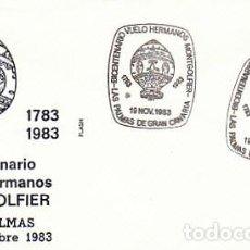 Sellos: AÑO 1983, BICENTENARIO DEL VUELO DE LOS HERMANO MONTGOLFIER MATASELLO DE LAS PALMAS, SOBRE DE FLASH. Lote 197109322