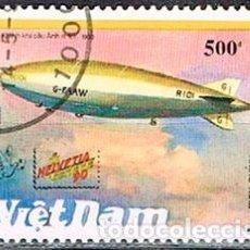 Sellos: VIETNAM Nº 1390, ZEPELIN: LEBAUDY - R-101, USADO. Lote 198423343