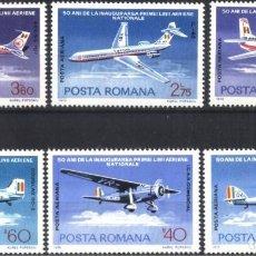 Sellos: SELLOS RUMANIA 1976 Y&T 239/44** AEREOS AVIONES. Lote 199317381