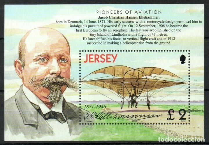 SELLO JERSEY 2003 PIONEROS DE LA AVIACION ELLEHAMMER (Sellos - Temáticas - Aviones)