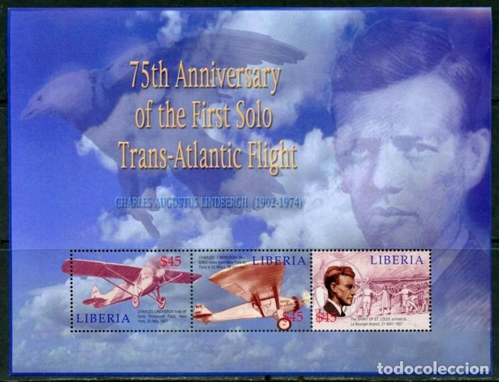 SELLOS LIBERIA 2002 CHARLES LINDBERGH (Sellos - Temáticas - Aviones)