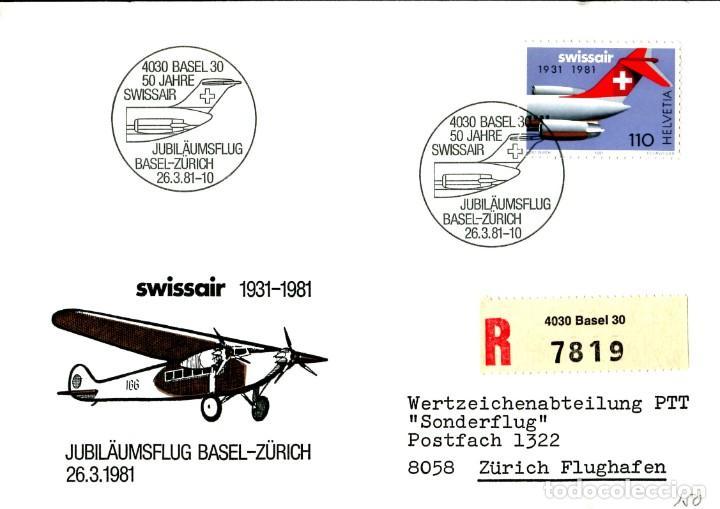 SUIZA - SOBRE 50 ANIVERSARIO CIA. AÉREA SWISSAIR 1981 CIRCULADO TEMA AVIACION (Sellos - Temáticas - Aviones)