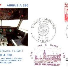 Sellos: PRIMER VUELO COMERCIAL AIRBUS A320 DE LA CIA. AEREA AIR FRANCE ENTRE PARIS Y LONDRES 1988. Lote 203553483
