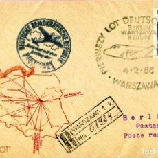 Sellos: PRIMER VUELO VARSOVIA A ALEMANIA 1956 CIRCULADA MATASELLOS ESPECIALES. Lote 203553941