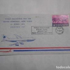 Sellos: VUELO INAUGURAL PAN AM-SANTO DOMINGO-NEW YORK-1973. Lote 204455600