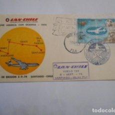 Sellos: LAN CHILI VUELO 133 SANTIAGO-ISLAS FIJI 1974. Lote 204460935