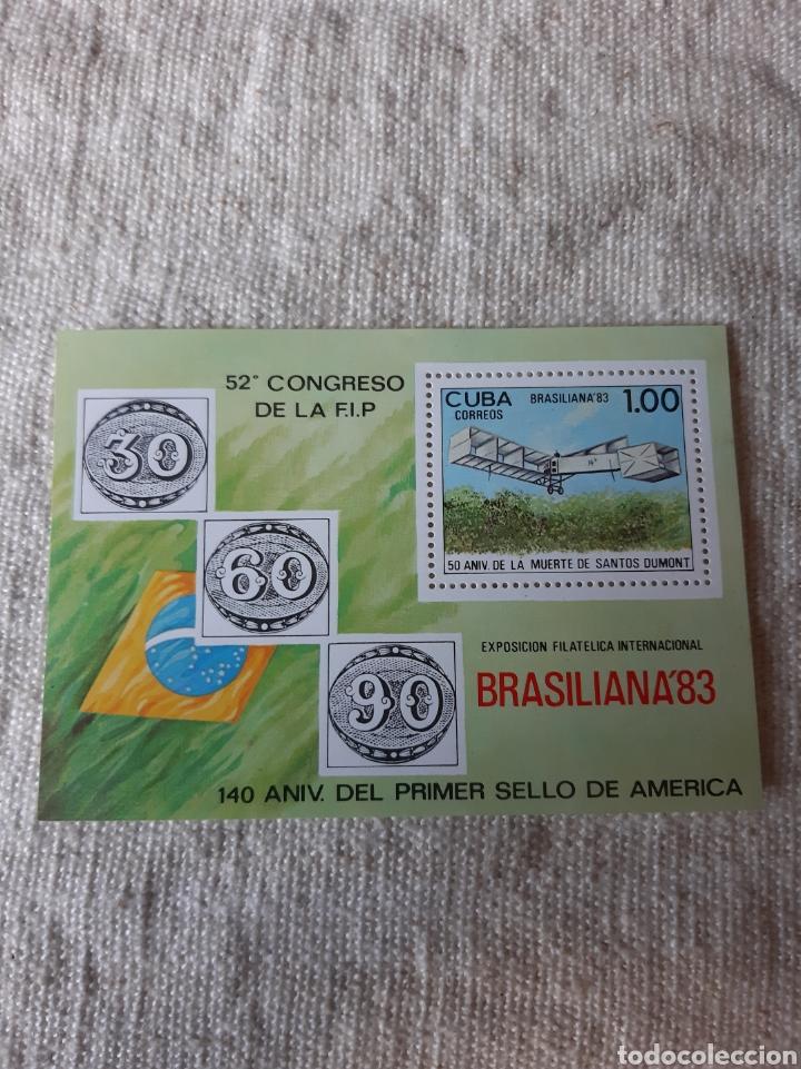 CUBA HOJA BLOQUE NUEVO AVIACION EXPOSICIÓN FILATÉLICA INTERNACIONAL BRASILIANA 83 N 77 (Sellos - Temáticas - Aviones)