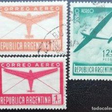 Timbres: 1940. ARGENTINA. A 20, A 22, A 23. CORREO AÉREO, APARATO DOUGLAS DC-2. USADO.. Lote 205820317