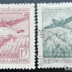 Timbres: 1946. ARGENTINA. 467 / 468. LÍNEAS AÉREAS ARGENTINAS. SERIE COMPLETA. USADO.. Lote 205821065