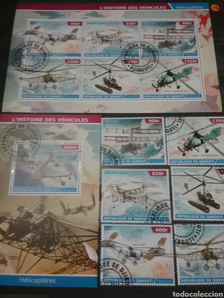 HB 2+SELLOS R. DJIBOUTI (YIBUTI) MTDS/2015/HELICOPTERO/TRANSPORTE/AVIONES/MAPA/HISTORIA/MILITAR/ (Sellos - Temáticas - Aviones)