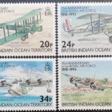 Sellos: 1993. OCÉANO ÍNDICO BRITÁNICO. 135 / 138. ROYAL AIR FORCE. AVIONES DE COMBATE. SERIE COMPLETA. NUEVO. Lote 207201526