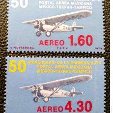 Timbres: MÉXICO. A 465/66 PRIMERA UNIÓN POSTAL MÉXICO-TUXPAN-TAMPICO: AVIONES. 1978. SELLOS USADOS Y NUMERACI. Lote 208128563