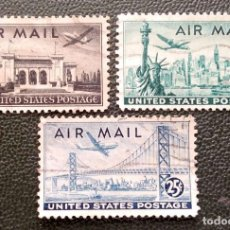 Timbres: USA. A 36/38 PALACIO UNIÓN PANAMERICANA, ESTUA LIBERTAD/NUEVA YORK, PUENTE S. FRANCISCO. 1947. SELLO. Lote 208391355