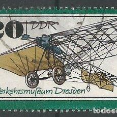 Sellos: ALEMANIA - ORIENTAL - PRIMER EXITOSO AVIÓN DE MOTOR ALEMÁN 1909 EN EL MUSEO DE DRESDEN - USADO. Lote 209561126
