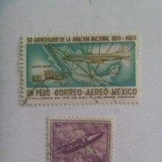 Sellos: LOTE DE 2 SELLOS DE AVIONES - AVIACION : MEXICO E INDIA. Lote 209914645