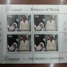 Sellos: HOJA BLOQUE EASDALE ISLAND SCOTLAND DIANA PRINCESS OF WALES. Lote 209946002