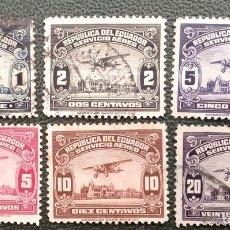 Sellos: ECUADOR. A 18/21, 127/28 AVIÓN SOBREVOLANDO GUAYAQUIL. 1929 Y 1944-45. SELLOS USADOS Y NUMERACIÓN YV. Lote 209959572