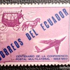 Sellos: ECUADOR. A 406 CENTENARIO 1ª CONFERENCIA POSTAL INTERNACIONAL: DILIGENCIA Y AVIÓN. 1963. SELLOS USAD. Lote 209959902