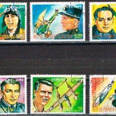 Sellos: GUINEA ECUATORIAL 1330, HEROES DEL AIRE, AVIADORES, USADO 6 SELLOS. Lote 212212171