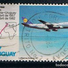 Sellos: SELLO AVION BOEING 747 LUFTHANSA URUGUAY 1982 -25 ANIVERSARIO AVIONES DE PASAJEROS. Lote 213552247